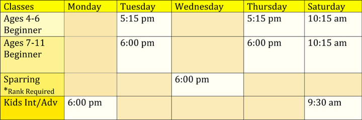 Adult Class Schedule