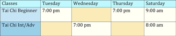 Tai Chi Class Schedule